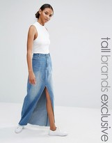 Daisy Street Tall Split Front Denim Maxi Skirt