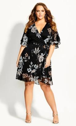 City Chic Boudoir Floral Dress - black