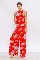 Flying Tomato Red Floral Jumpsuit