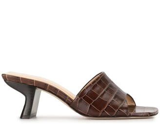 BY FAR Lily crocodile embossed mules