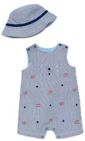 Little Me Infant Boy's Usa Flags Romper & Hat Set