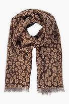 boohoo NEW Womens Amy Leopard Print Woven Scarf in