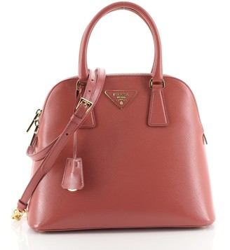 Prada Zip Around Convertible Dome Satchel Vernice Saffiano Leather North South