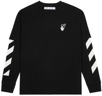 Off-White Cut Here black printed cotton top