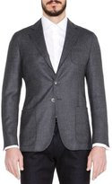 Giorgio Armani Basketweave Wool/Cashmere Jacket, Gray