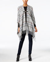 Charter Club Interlock Windowpane Poncho, Only at Macy's