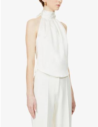 HARMUR Classic backless silk-crepe top
