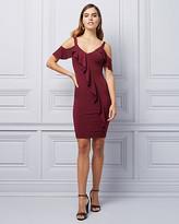 Le Château Cold Shoulder Ruffle Cocktail Dress