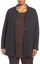Eileen Fisher Plus Size Women's Notch Collar Felted Merino Knit Jacket