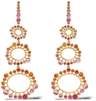 Annoushka 18kt yellow gold Hidden Reef sapphire drop earrings