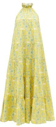 Rhode Resort Julia Ruffled Floral-print Cotton Dress - Yellow Print
