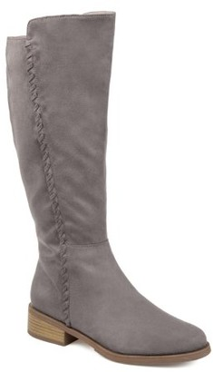 Brinley Co. Comfort by Womens Extra Wide Calf Whipstitch Riding Boot