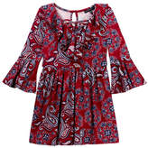 My Michelle mymichelle Paisley Printed Ruffle Neck Bell Sleeve Dress (Big Girls)