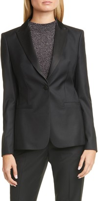 BOSS Jaxtina Wool Blend Tuxedo Jacket