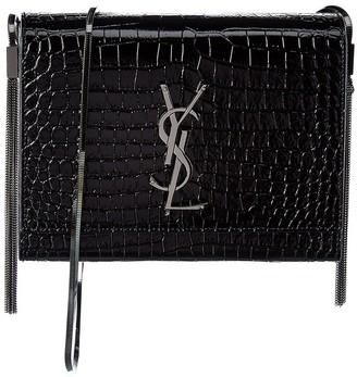 Saint Laurent Kate Croc-Embossed Leather Crossbody