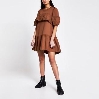 River Island Womens Rust broderie frill smock T-shirt dress