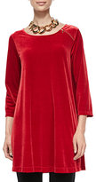 Joan Vass 3/4-Sleeve Velour Tunic W/ Zipper Detail