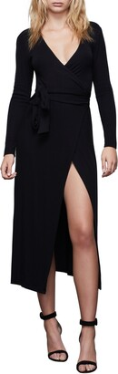 Good American Solid Long Sleeve Wrap Midi Dress