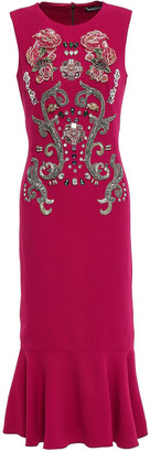 Dolce & Gabbana Fluted Embellished Crepe Midi Dress