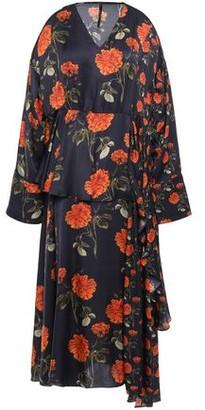 Mother of Pearl Asymmetric Floral-print Satin Midi Dress