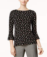 Charter Club Petite Heart-Print Bell-Sleeve Top, Created for Macy's