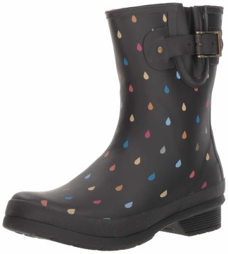 Chooka Women's Waterproof Mid-Height Printed Rain Boot with Memory Foam Calf Dot Black 10 M US