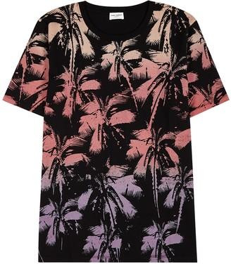 Saint Laurent Palm tree-print cotton T-shirt