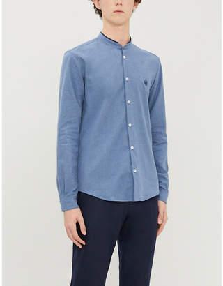 The Kooples Brand-embroidery mandarin-collar cotton shirt