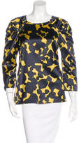 Lela Rose Abstract Print Silk Top