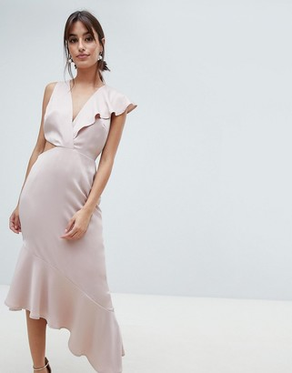 Asos Design DESIGN Satin Deep Plunge Ruffle Dress With Cut Out Side-Pink