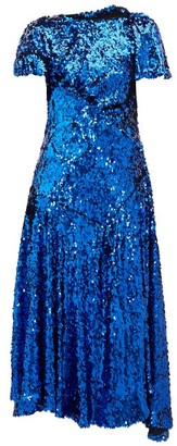 Preen by Thornton Bregazzi Mia Gathered Sequinned Dress - Womens - Blue