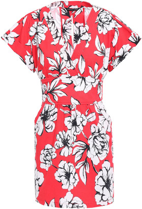 Marissa Webb Belted Floral-print Stretch Cotton-ottoman Mini Dress
