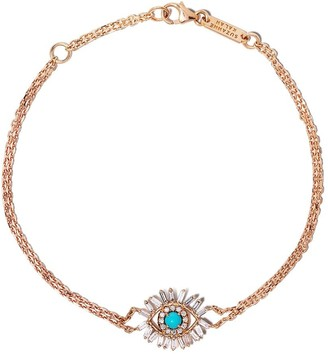 Suzanne Kalan 18kt Rose Gold Diamond Turquoise Eye Bracelet