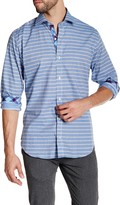 Tailorbyrd Light Blue Long Sleeve Striped Woven Shirt
