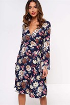 Iclothing iClothing Lilianne Floral Wrap Dress in Navy