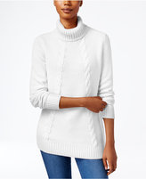 Karen Scott Cable-Knit Turtleneck Sweater, Only at Macy's