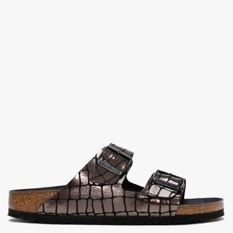 Birkenstock Arizona Gator Gleam Black Two Bar Mules