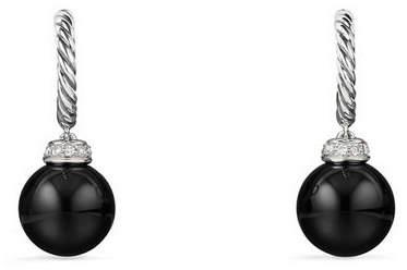 David Yurman Solari 9mm Silver Drop Hoop Earrings w/ Diamonds