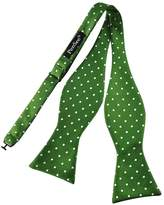 Pense'e Pensee Mens Self Bow Tie Green and White Polka Dot Silk Bow Ties