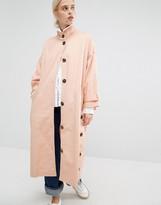 Monki Button Funnel Neck Coat