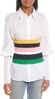 Tibi Women's Rib Knit Stripe Tube Corset