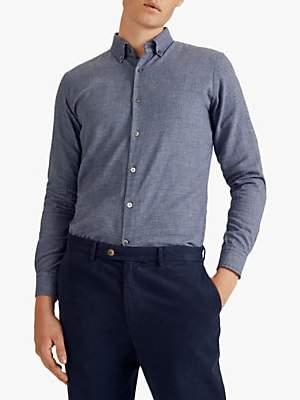 Jigsaw Brett Check Cotton Blend Slim Fit Shirt