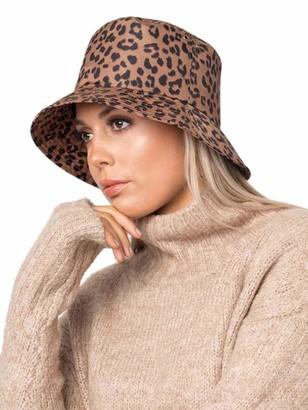 Pia Rossini Ladies Leopard Print Bucket Rain Hat - Charise - One Size
