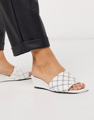 ASOS DESIGN Thriller quilted demi wedge in white