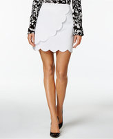 Olivia & Grace Scalloped Faux-Wrap Mini Skirt