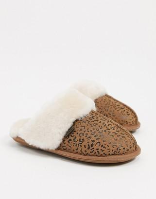 Sheepskin by Totes mule slippers in leopard