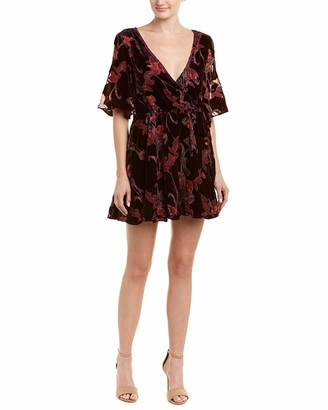 J.o.a. Women's Velvet Short Sleeve Blouson Flare Burnout Floral Dress