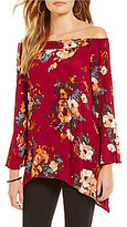 Blu Pepper Floral Off-The-Shoulder Bell Sleeve Top