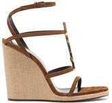 Saint Laurent Cassandra monogram Suede Wedge Sandals - Womens - Tan