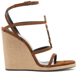 Saint Laurent Cassandra monogram Suede Wedge Sandals - Tan